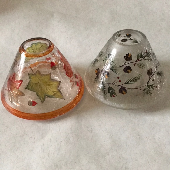 2 Yankee Candle Toppers Crackled Glass
